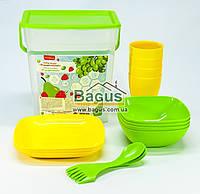 Набор посуды для пикника (ведро + 4 комплекта посуды) (цвет желто-салатовый) Алеана ALN-169042-2, фото 1
