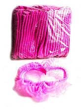 Шапочки одноразовые на одной резинке Polix PRO&MED 100 шт/уп (розовые)