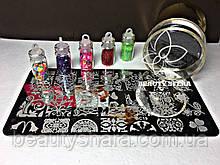 Маникюрный набор Стемпинга + Пластина +дизайн ногтей в баночке