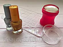Маникюрный набор стемпинга для ногтей + Пластина + 2 Краски для стемпинга