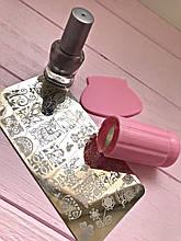 Маникюрный набор стемпинга для ногтей + Пластина + Краска для стемпинга