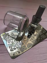 Манікюрний набір стемпинга для нігтів + Пластина + Фарба для стемпинга