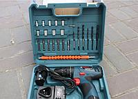 Дрель-шуруповерт для дома Bosch TSR12-2LI (12V 3Ah Li-Ion) с набором бит, насадок, сверл
