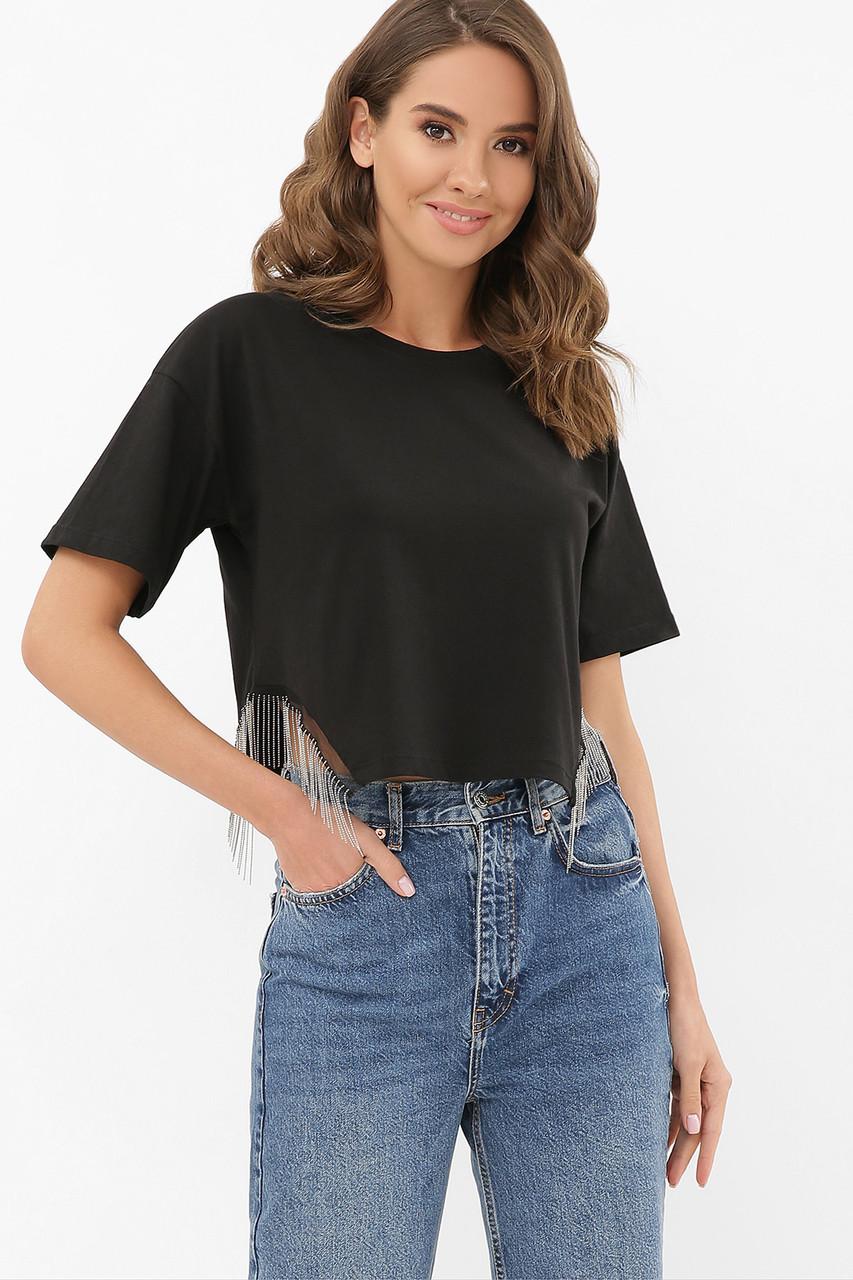 Стильна коротка чорна футболка жіноча з декором, розмір S M L