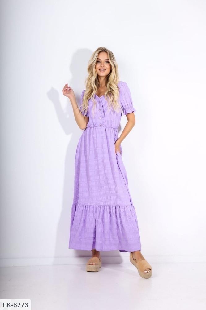 Летнее длинное прогулочное платье в пол расклешенное от талии с коротким рукавом хлопок р-ры 42-48 арт. .607