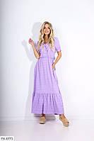 Летнее длинное прогулочное платье в пол расклешенное от талии с коротким рукавом хлопок р-ры 42-48 арт. .607, фото 1