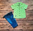 Летний костюм: рубашка, джинсовые шорты для мальчика на 5, 8 лет, фото 2
