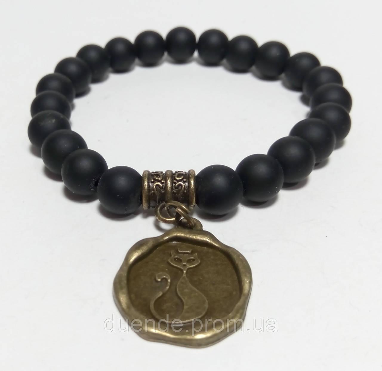 Браслет Шунгіт натуральний камінь, бронза з підвіскою Кіт, тм Satori \ Sb - 0019