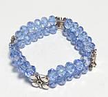 Браслет дворядний Чеський Кришталь, колір блакитний, тм Satori \ Sb - 0047, фото 2