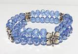Браслет дворядний Чеський Кришталь, колір блакитний, тм Satori \ Sb - 0047, фото 3