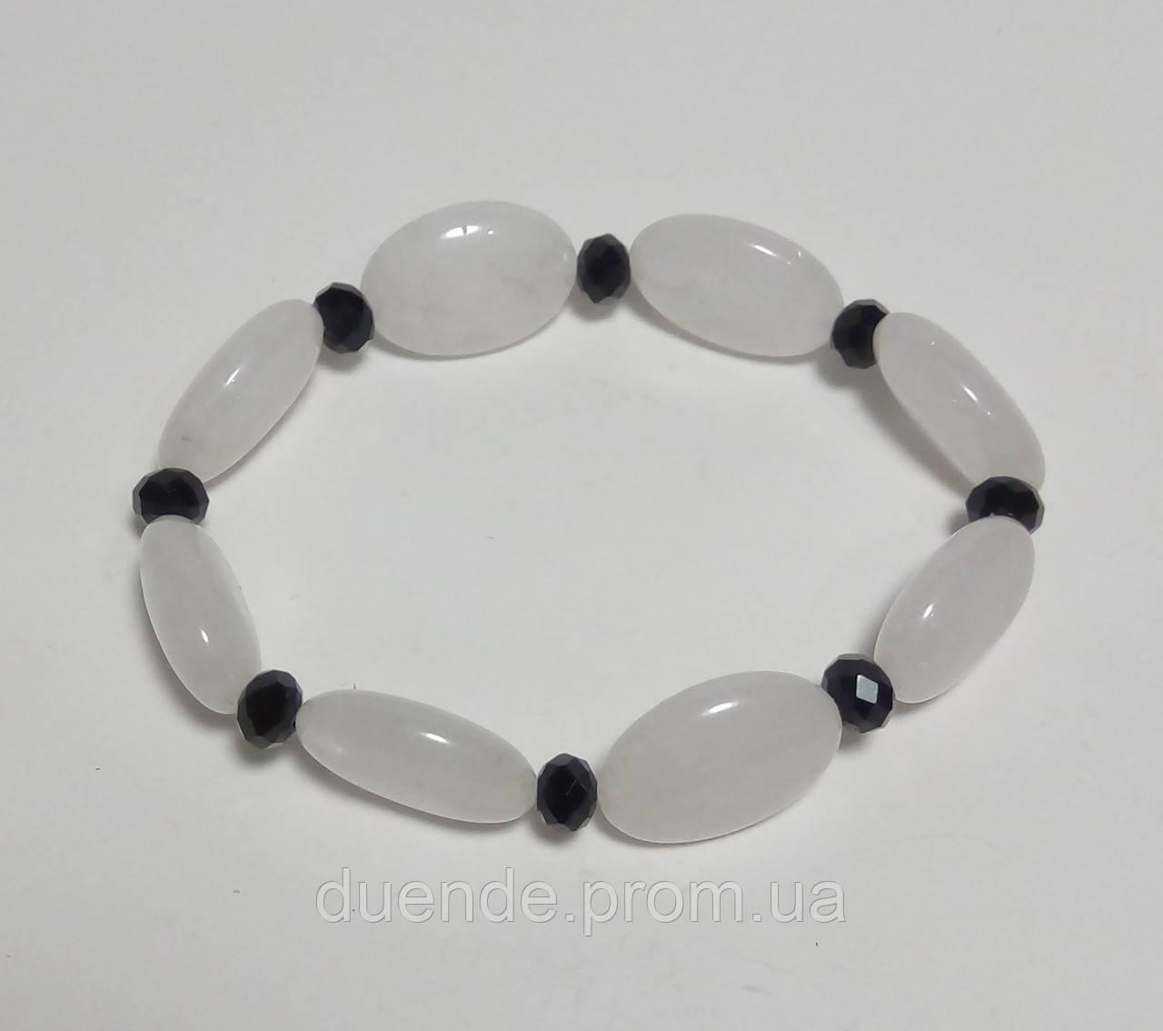 Браслет Кварц молочно-білий, натуральний камінь, тм Satori \ Sb - 0090