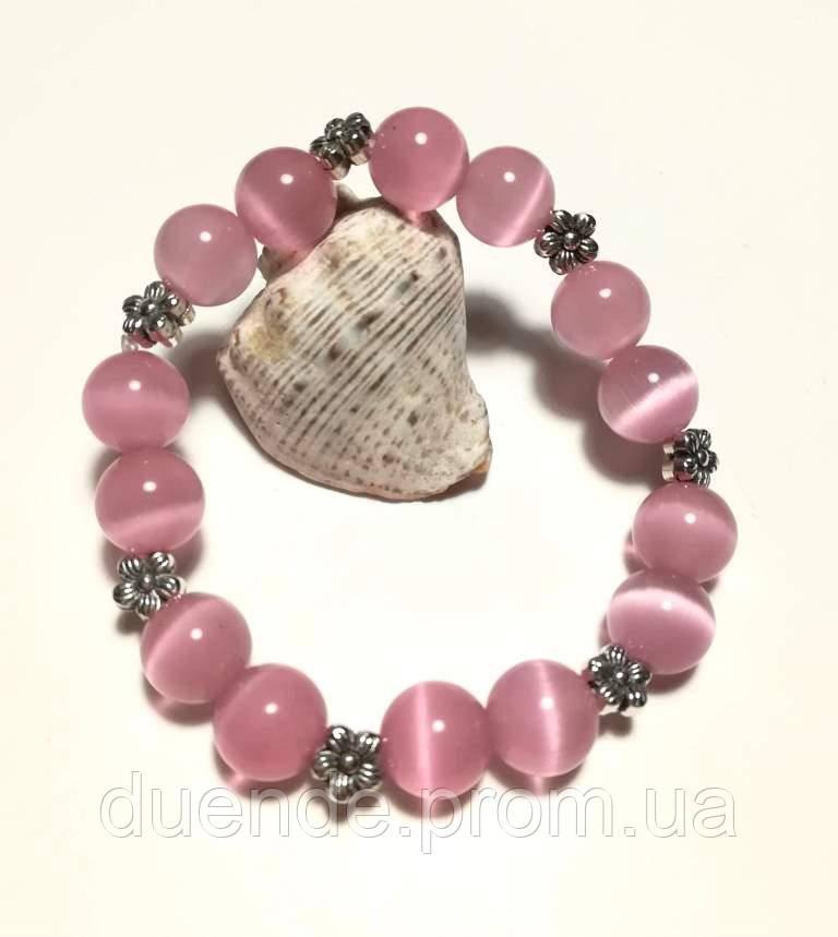 Браслет Котяче око, натуральний камінь, рожевий колір і його відтінки, тм Satori \ Sb - 0128