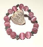 Браслет Котяче око, натуральний камінь, рожевий колір і його відтінки, тм Satori \ Sb - 0128, фото 3
