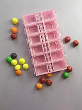 Контейнер для страз 12 ячеек (розовый)