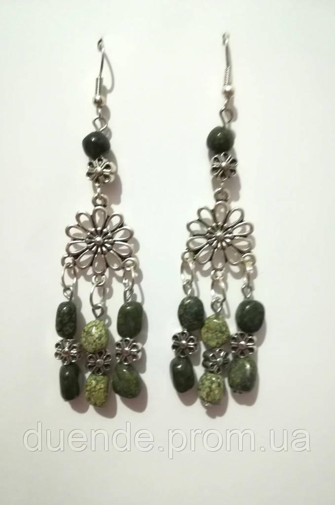 Серьги из Змеевика, натуральный камень, цвет зеленый и его оттенки, тм Satori \ S - 0272