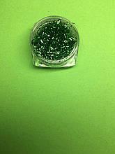 Стружка для декора ногтей в баночке зеленая