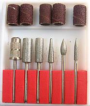 Набор маникюрных алмазных насадок для фрезера 6шт
