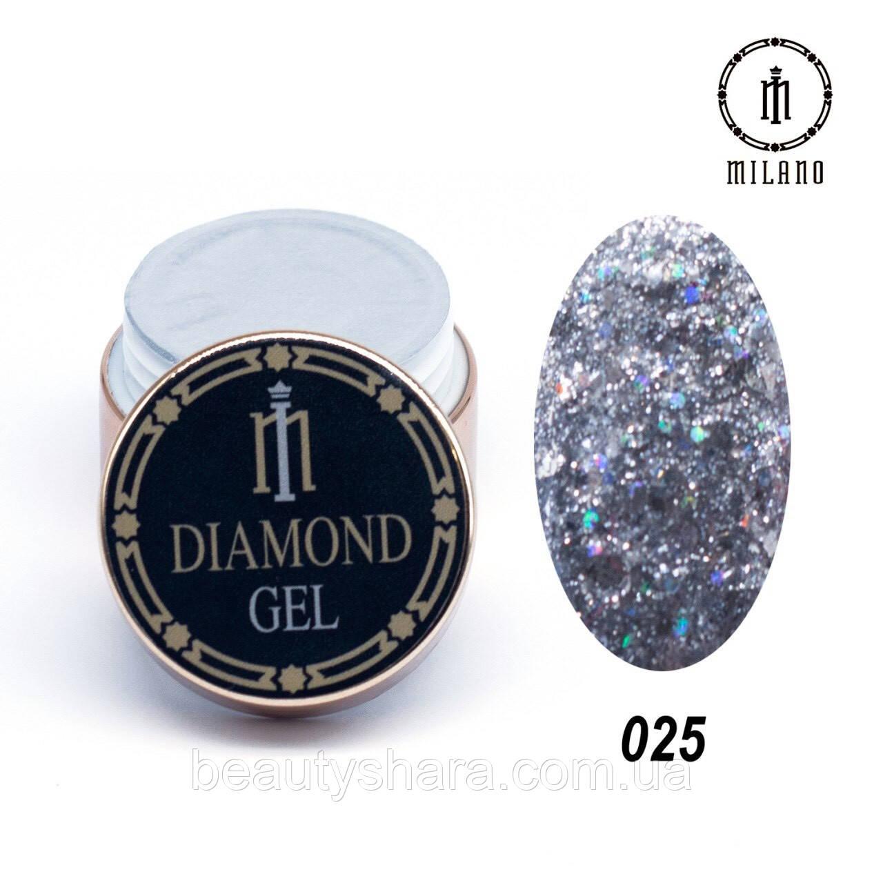 Глиттерный гель Diamond Gel Milano 8 г №25