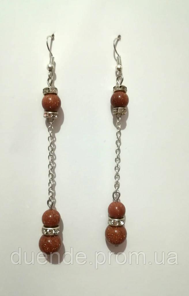 Сережки з Авантюрину довгі Золотий пісок, натуральний камінь, тм Satori \ S-0139