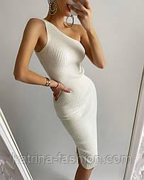 Платье-резинка рубчик вязаное хлопковое на одно плечо облегающее (в расцветках)