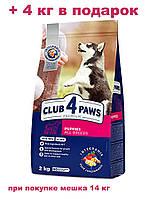 АКЦИЯ!!! Клуб 4 лапы Premium для щенков всех пород 14 кг + 4 кг корма в подарок