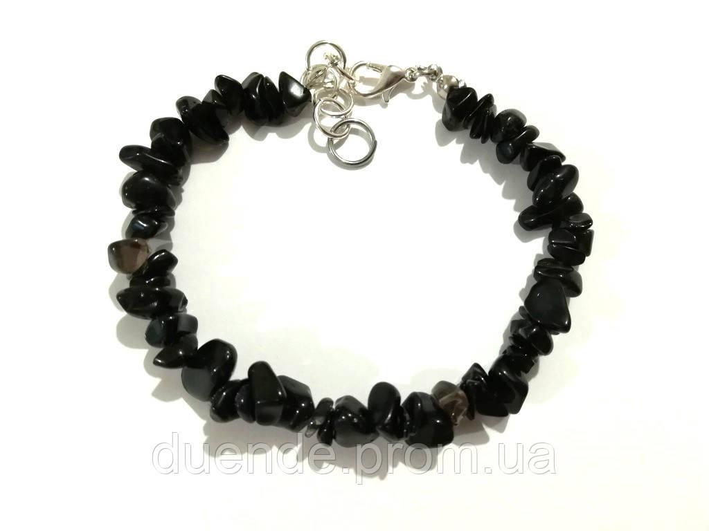 Браслет з Раухтопаза крихта, натуральний камінь, колір темна імла, тм Satori \ Sb - 0267