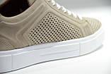 Мужские бежевые кожаные кеды кроссовки в сетку, фото 4