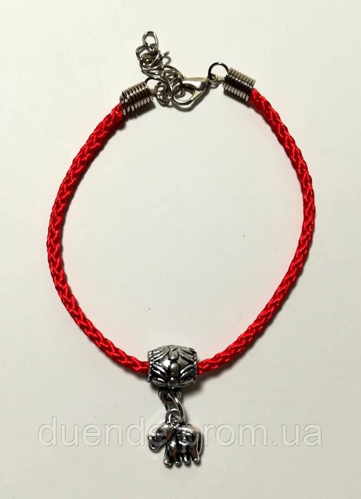 Браслет Красная нить с подвеской Слоник, браслет обереговый \ Sb - 0233.