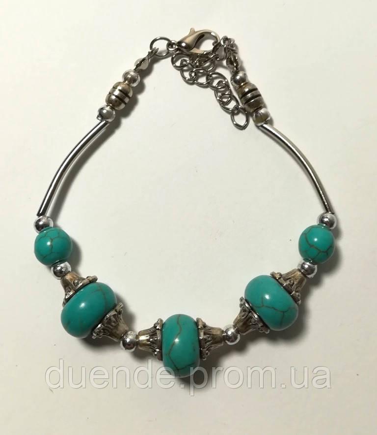 Браслет из бусин голубой, бижутерия \ Sb - 0223.