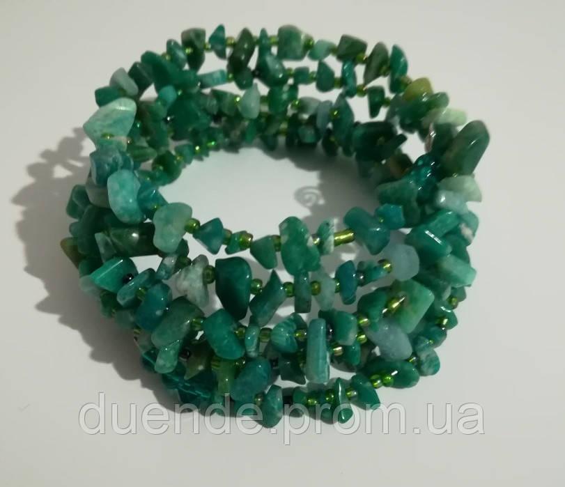 Браслет Амазонит, натуральный камень, цвет зеленый и его оттенки, тм Satori \ Sb - 0253
