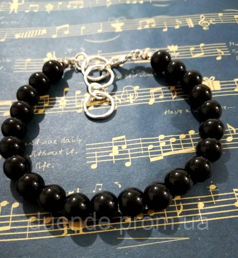Браслет из черного Агата, натуральный камень, цвет черный, тм Satori \ Sb - 0257
