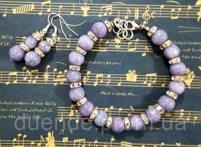 Комплект из Ангелита - серьги + браслет, натуральный камень, цвет серо-голубой, тм Satori \  \ Sn - 0018