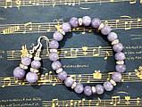 Комплект из Ангелита - серьги + браслет, натуральный камень, цвет серо-голубой, тм Satori \  \ Sn - 0018, фото 2