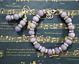 Комплект из Ангелита - серьги + браслет, натуральный камень, цвет серо-голубой, тм Satori \  \ Sn - 0018, фото 3