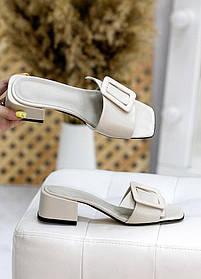 Шлепанцы сабо мюли кожаные на каблуке молочного цвета размер 36-40