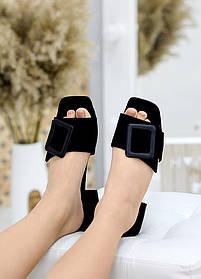 Изящные шлепанцы сабо замшевые черного цвета на каблуке размер 36-40