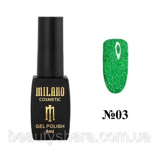 Гель-лак Milano Effulgence (светоотражающий) №3 зеленый