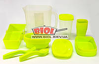 Набор посуды для пикника (ведро 2,5л-1, миска-8, тарелка-6, стакан-7, ложка-6, вилка-6) (салатовый), фото 1