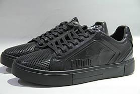 Мужские черные кожаные кеды кроссовки в сетку