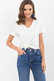 Трикотажная белая футболка с V-образным вырезом и коротким рукавом, размер S M L XL