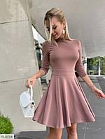 Стильное короткое женское платье с юбкой клеш рукав три четверти р-ры 42-46 арт. 407