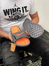 Чоловічі плескачі Nike (сірі з помаранчевим) J243 стильні сучасні тапочки
