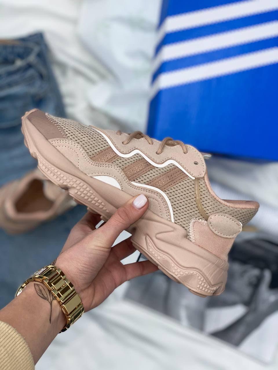 Женские кроссовки Adidas Ozweego (бежевые) AZ003 крутые молодежные кроссы