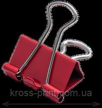 Біндер-затискач для паперу, 25 мм, червоний, по 12 шт. в тубі