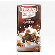 Шоколад без цукру молочний фундук 75г ТМ Torras