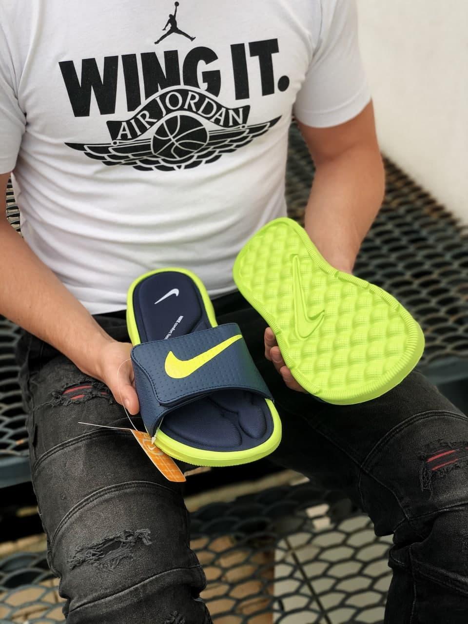 Мужские шлепки Nike (черные с салатовым) J242 качественные удобные тапочки