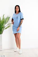 Прогулочное платье женское короткое повседневное спортивное легкое на лето двунить  р-ры 42-46 арт.  405