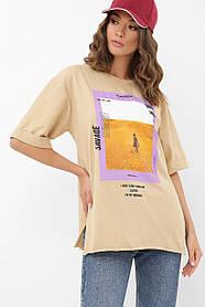 Женская модная футболка из коттона с оригинальным принтом, размер S, M, L