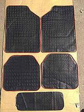 Авто килимки резинові універсальні! Килимки в салон автомобіля (комплект 4 шт + перегородка) Чорний. 11001