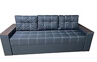Удобный прямой трехместный диван еврокнижка раскладной красивый в гостиную для сна Комфорт Черный